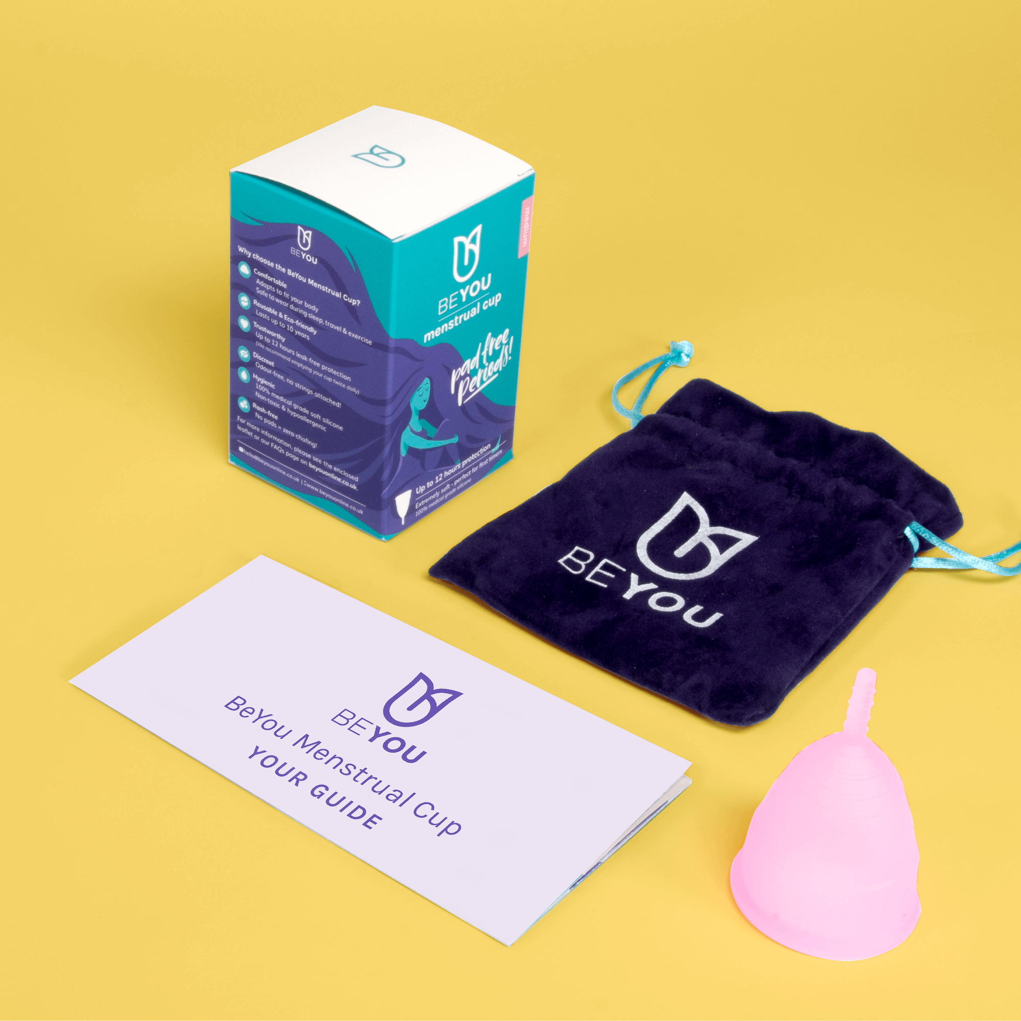 menstrual cup comes with a carry pouch and a guide