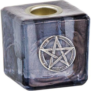 Glass Pentacle Mini Candle Holder