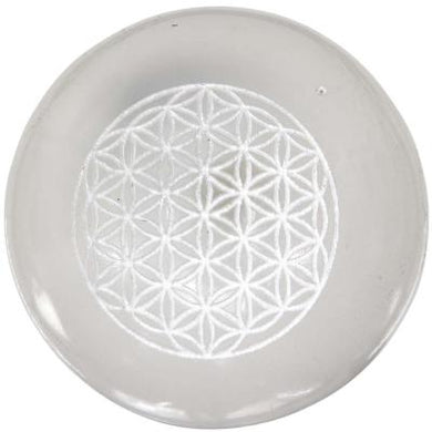 Engraced Flower of Life Selenite Sphere