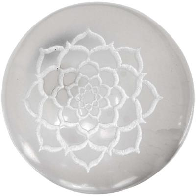 Etched Lotus Flower Selenite Sphere