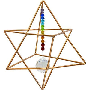 Copper Energizing Merkaba with Prism & Chakra Beads