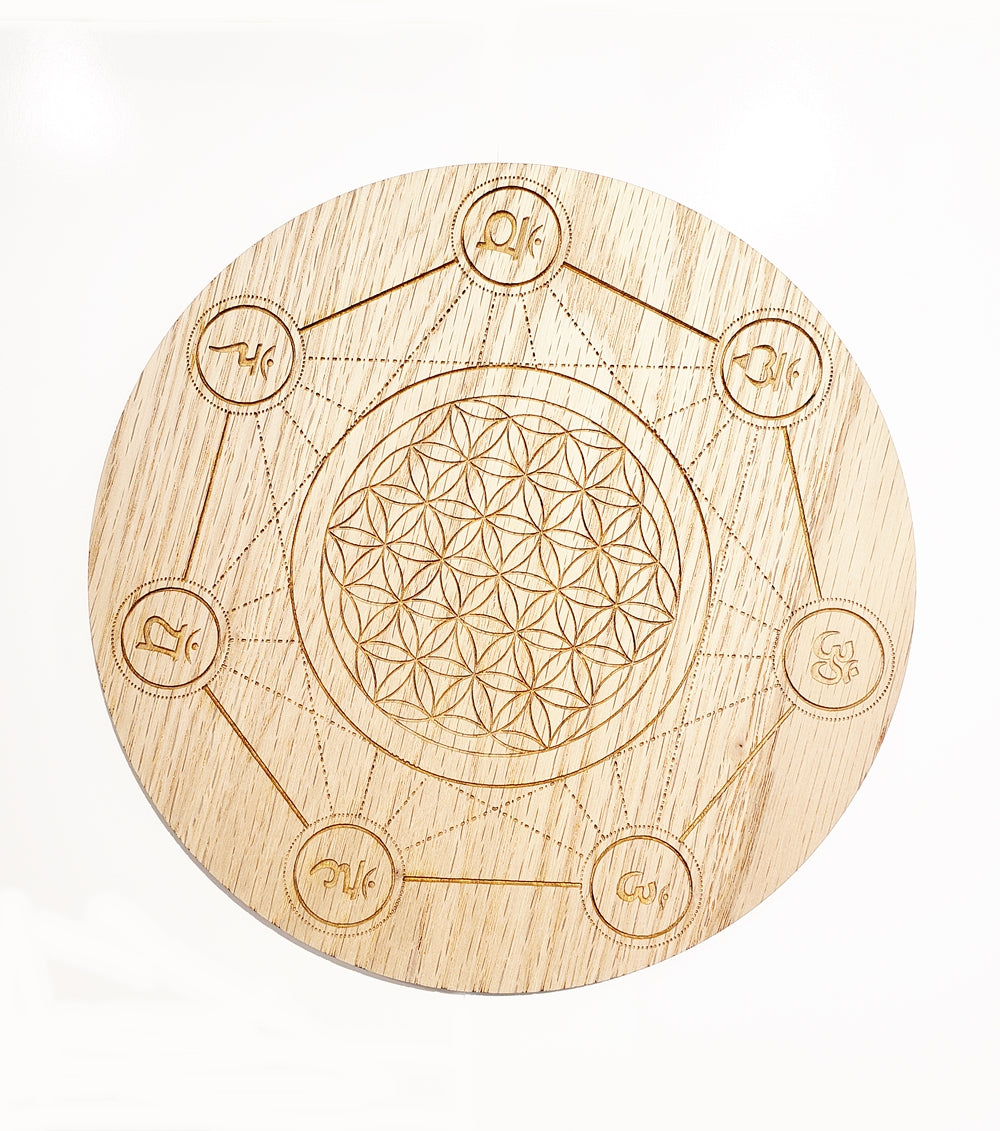 Oak Chakra Flower of Life Grid Coaster