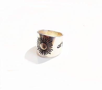 Sterling Silver Sun Design Ring - Sz 6 & 8