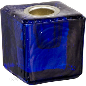 Cobalt Blue Glass Candle Holder