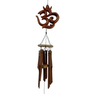 "Carved ""OM"" Symbol Bamboo Wind Chime"