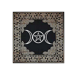 Triple Goddess With Pentagram Altar Tarot Cloth