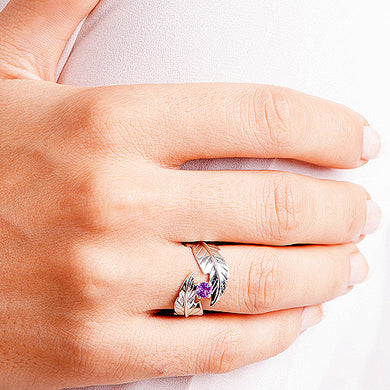 Feather Ring Wrapping an Amethyst  Sz9