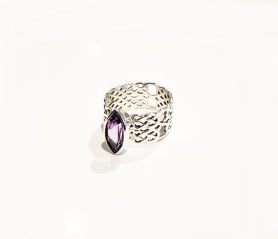 Wide Band Celtic Amethyst Ring - Sz 10