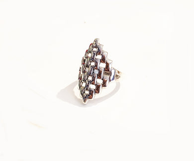 Silver Patterned Ring - Sz 9