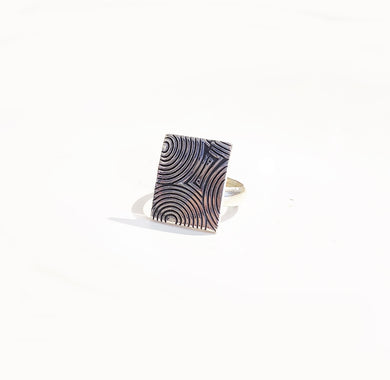 Patterned Silver Ring - Sz 8