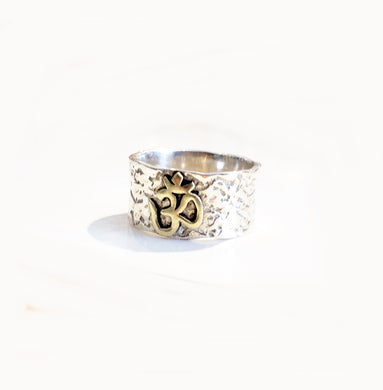 Sterling Silver/Gold Ohm Ring - Sz 8 & 9