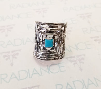 Israeli Silver Turquoise Ring Sz 8.5