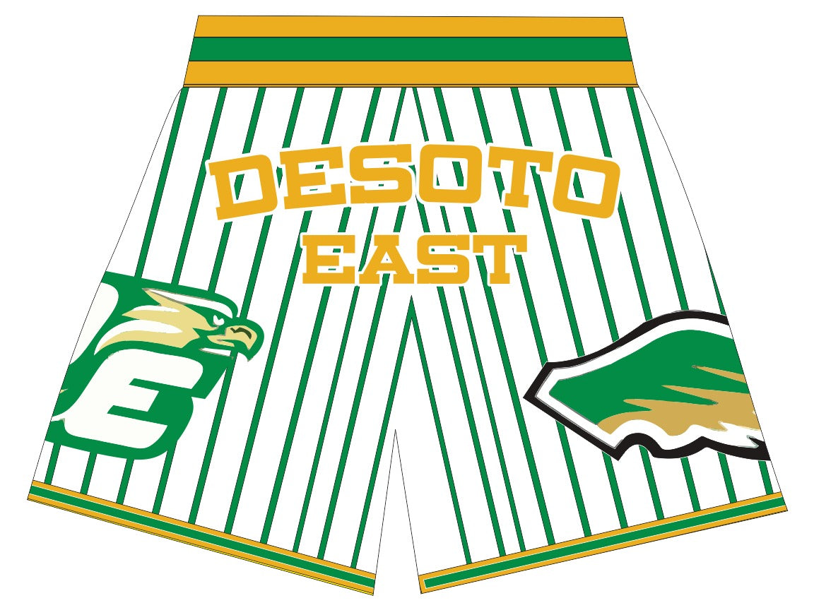 DESOTO EAST  BASKETBALL SHORTS WHITE GREEN PINSTRIPES