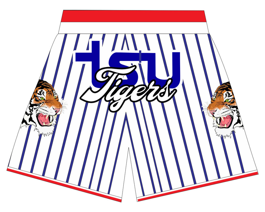 TSU TIGER WHITE/ BLUE PINSTRIPES  BASKETBALL SHORTS