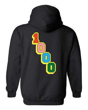 MULTI COLOR 1000 Graphic HOODIE BLACK