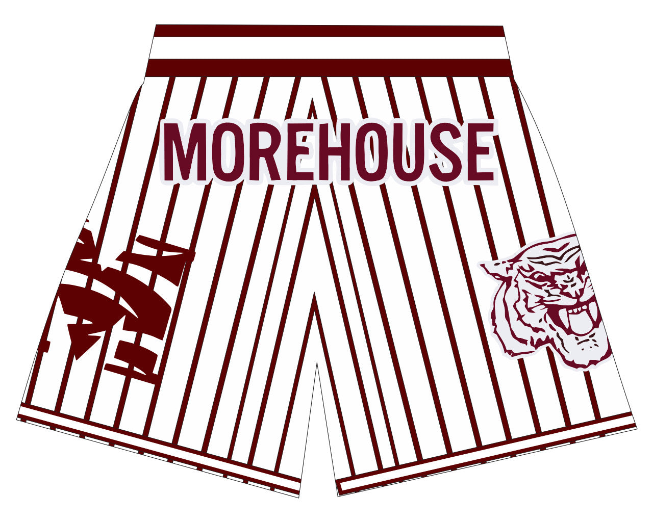 Morehouse Basketball Shorts White MAROON PINSTRIPES