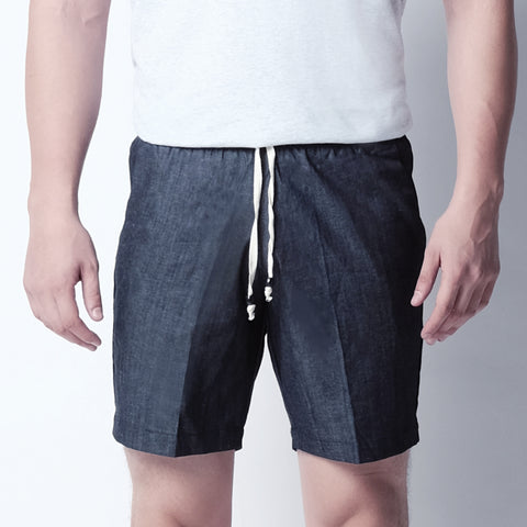 Basic Shorts - Dark Blue Chambray