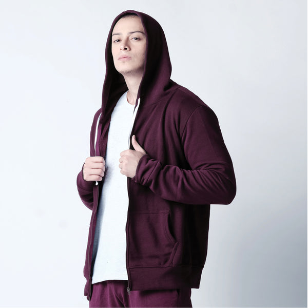 Zip Up Hoodie - Copper Maroon