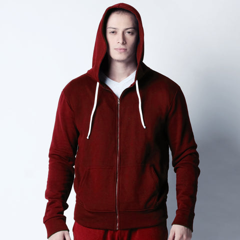 Zip Up Hoodie - Red Maroon