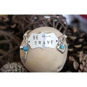 """Be Brave"" Metal-Stamped Leather Bracelet"