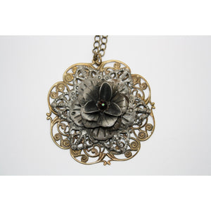 Antique/Steampunk Flower Pendant Necklace w/Swarovski Crystal