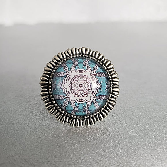 Blue Mandala Cabochon Ring