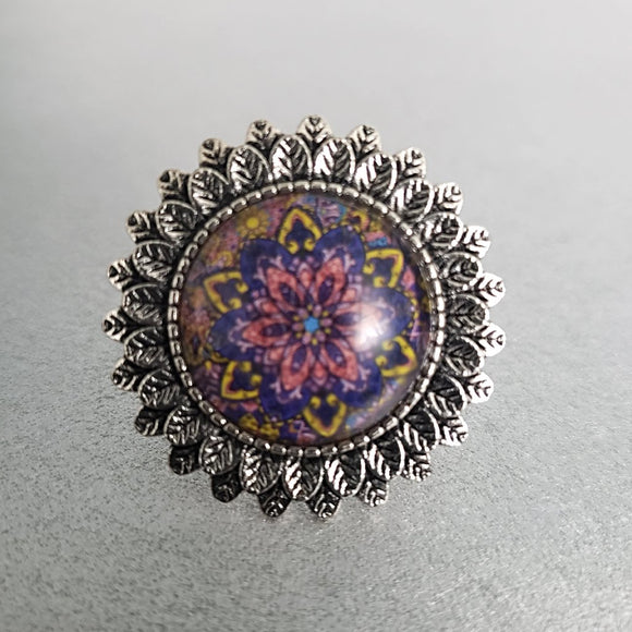 Multi-Coloured Mandala Cabochon Ring
