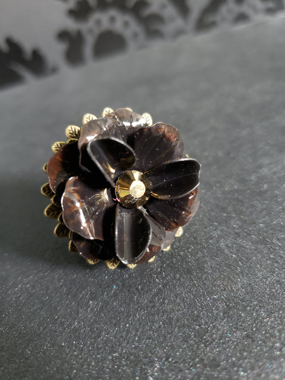 Flower Bezel Flower Ring with Crystal