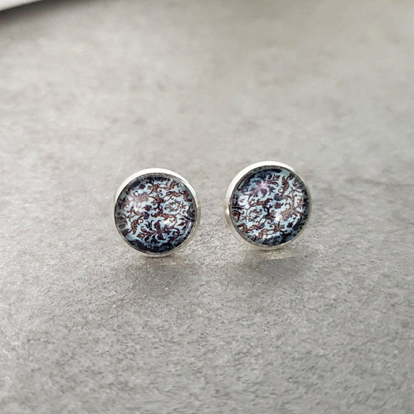 Baby Blue Damask Stud Earrings