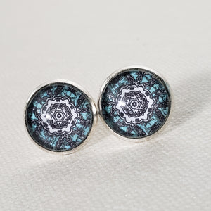 Elecrtic Blue Mandala Stud Earrings