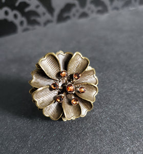 Delicate Daisy Ring with Amber Swarovski Crystals