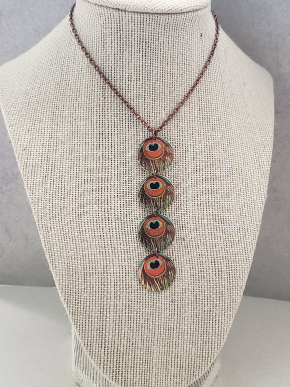 Pretty Peacock Medallion Necklace