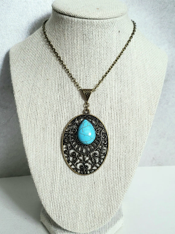 Antique Turquoise Cabachon Necklace
