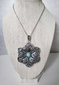 Filigree Flower with Turquoise Pendant