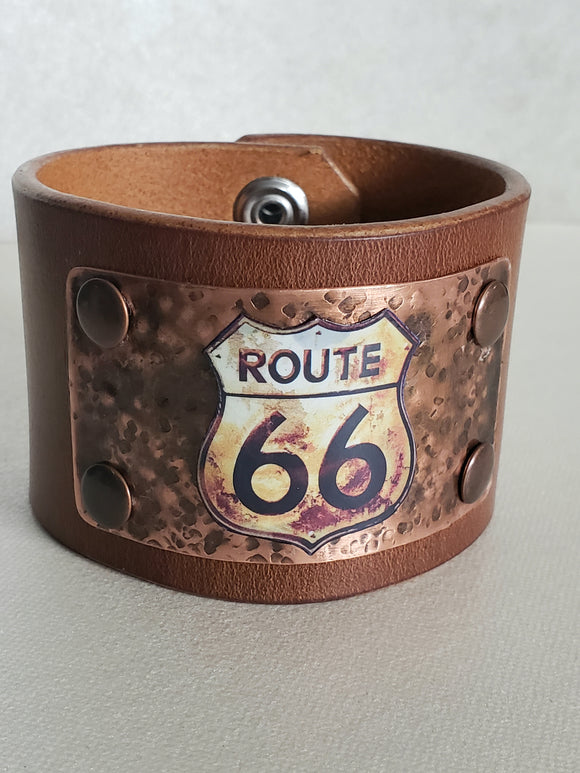 Vintage Route 66 Leather Cuff