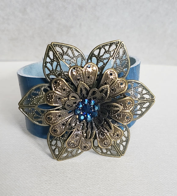Vintage Flower Leather Bracelet