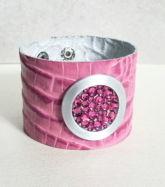 Pink Crystals & Croc Leather Cuff