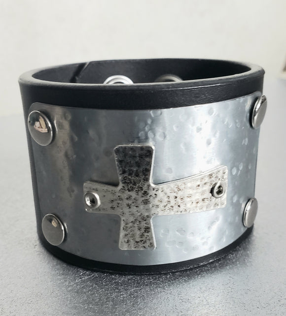 Antique Cross Leather Cuff