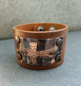 Antique Medieval Cross Leather Cuff