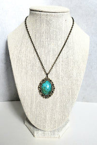 Vintage Marble Glass Cabochon Necklace