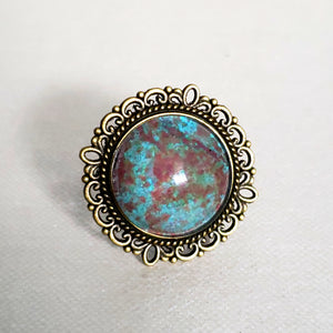 Vintage Marble Glass Cabochon Ring