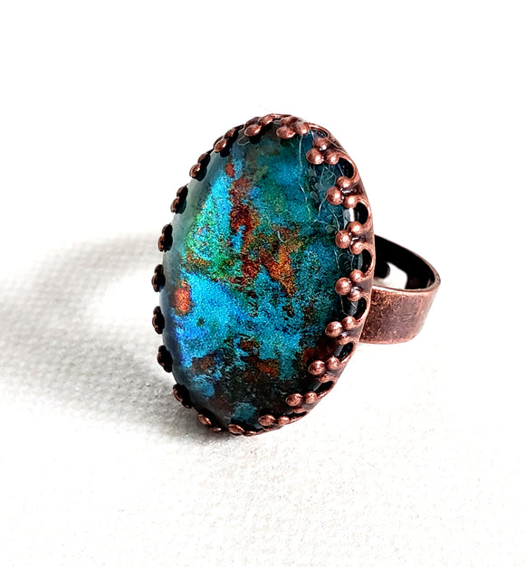 Vintage Copper Cabochon Adjustable Ring