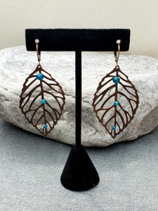 Copper Leaf Earrings with Swarovski Crystals