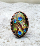 Rustic Peacock Adjustable Ring