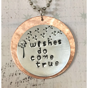 """Wishes Do Come True"" Metal-Stamped Pendant Necklace"