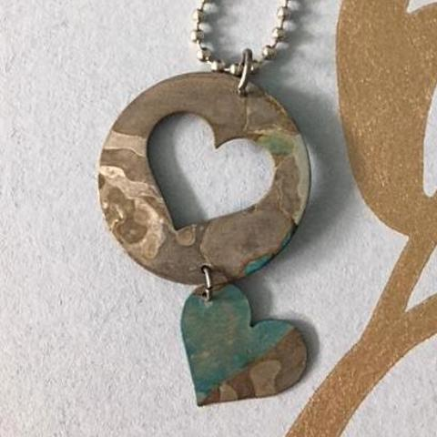 Rustic Hearts Pendant Necklace