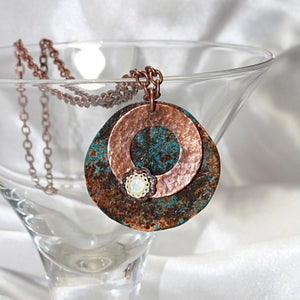Rustic Pendant Necklace with Swarovski Crystal