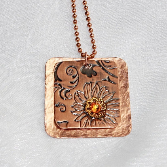 Rustic Copper Pendant Necklace with Swarovski Crystal