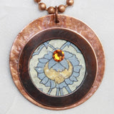 Rustic Copper Pendant with Swarovski Crystal
