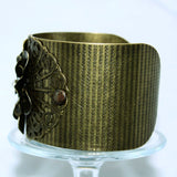 Filigree Flower Cuff Bracelet with Crystal